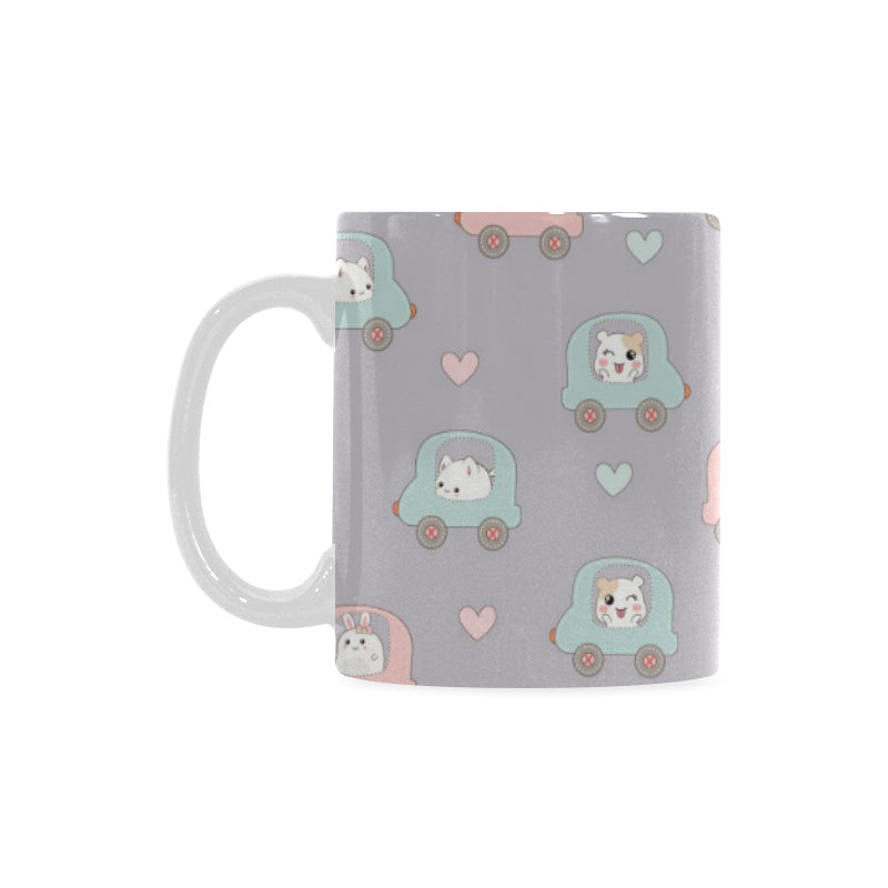 Hamster in Car Heart Pattern Classical White Mug (FulFilled In US)