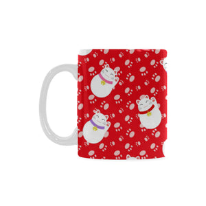 Meneki Neko Lucky Cat Pattern Red Background Classical White Mug (FulFilled In US)
