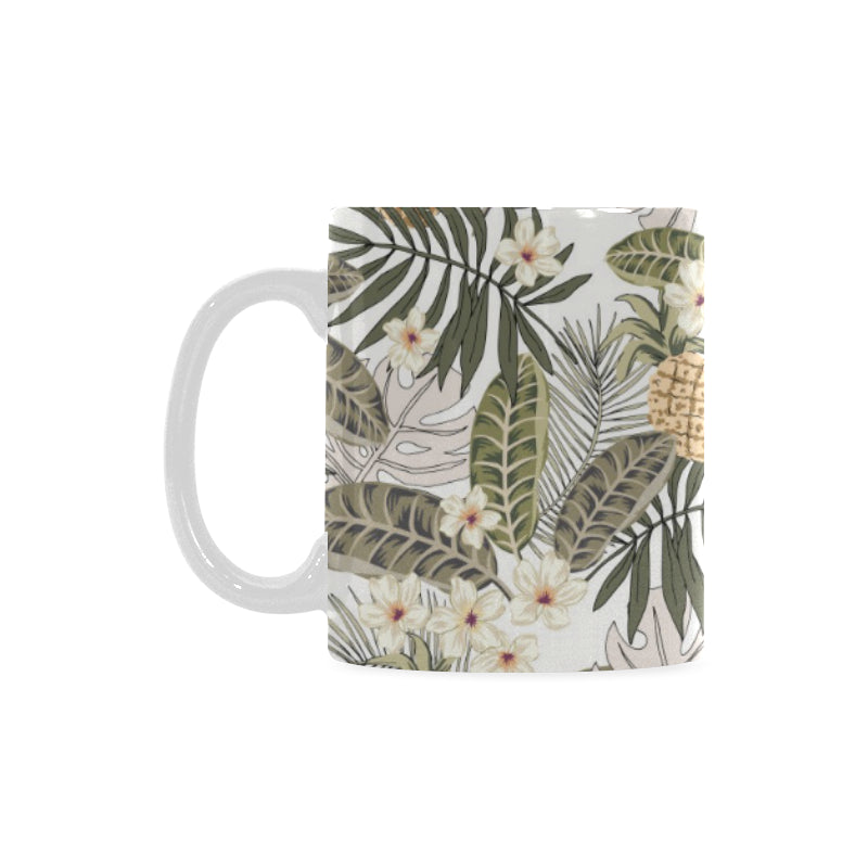 Pineapple Leave flower Pattern Classical White Mug (FulFilled In US)