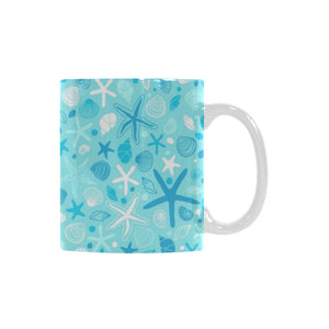 Starfish Shell Blue Theme Pattern Classical White Mug (FulFilled In US)