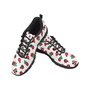 Ladybug Pattern Print Design 01 Men's Sneakers Black