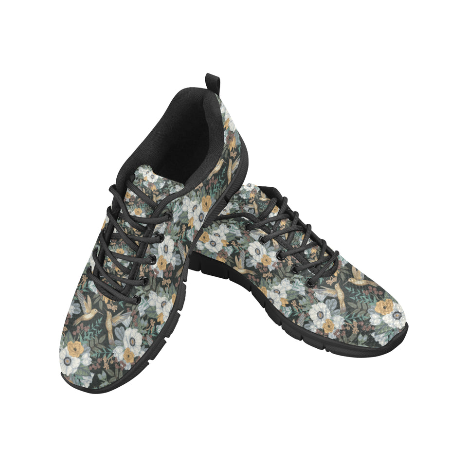 Hummingbird Pattern Print Design 05 Men's Sneakers Black