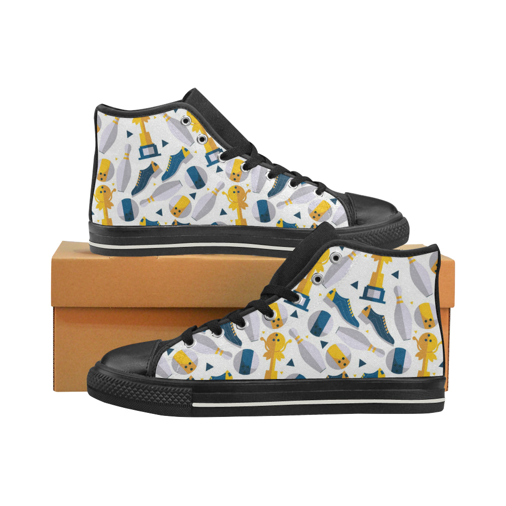 Bowling Ball and Shoes Pattern Women's High Top Shoes Black FulFilled In US