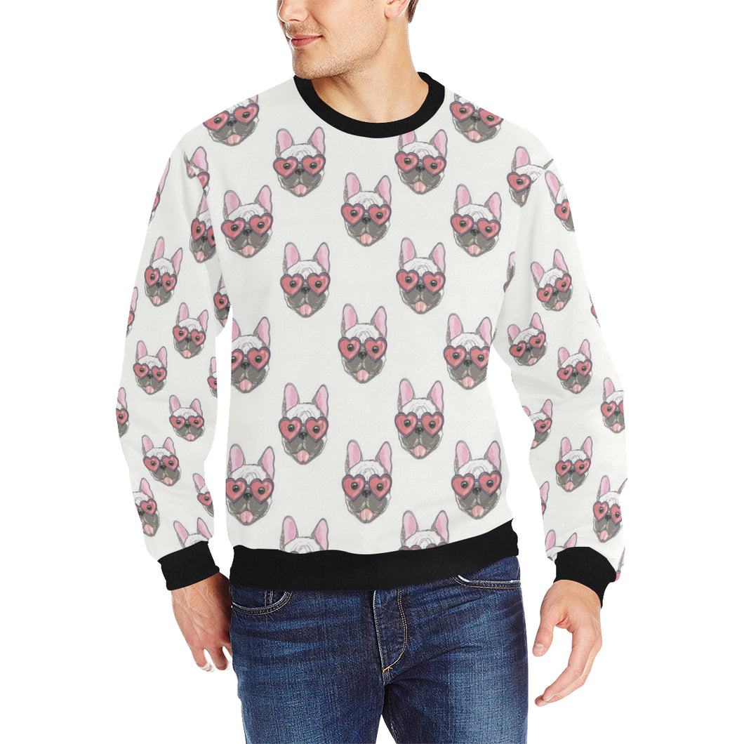 French Bulldog Heart Sunglass Pattern Men's Crew Neck Sweatshirt