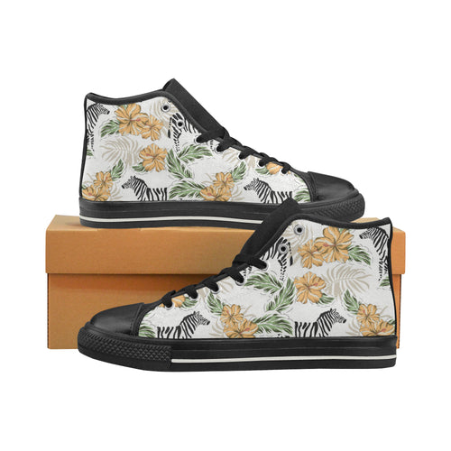 Zebra Hibiscus Pattern Women's High Top Shoes Black Made In USA