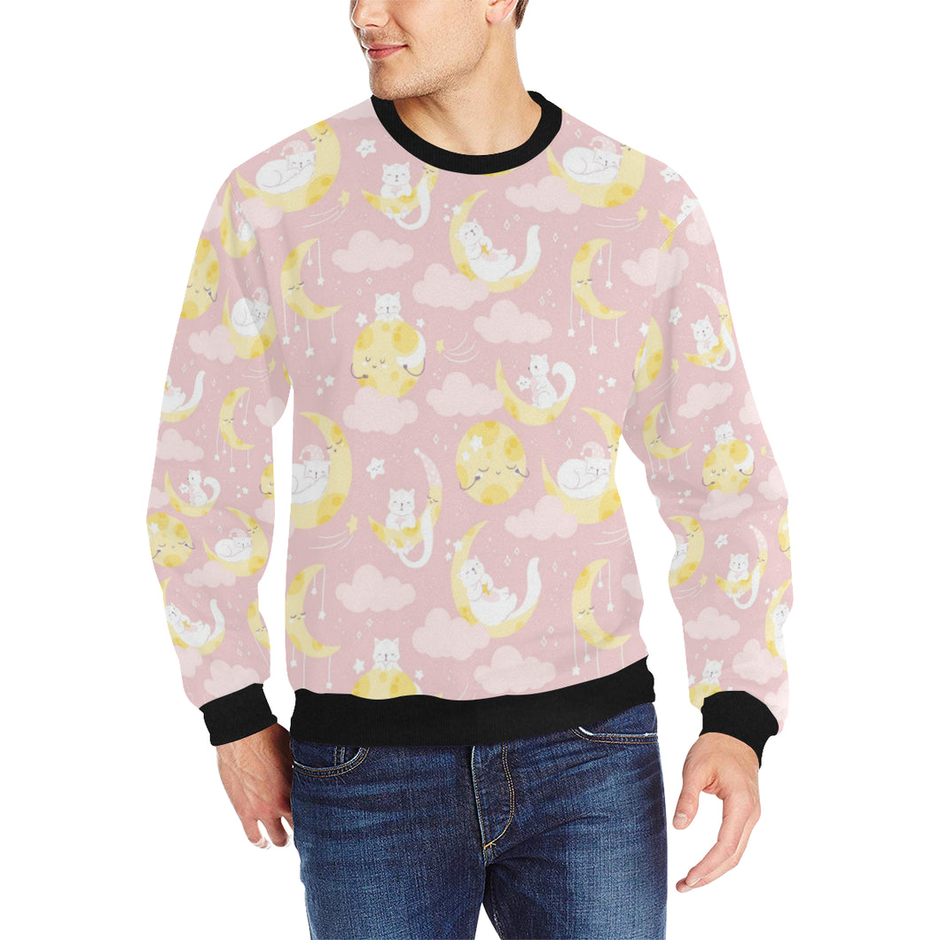 Moon Sleeping Cat Pattern Men's Crew Neck Sweatshirt