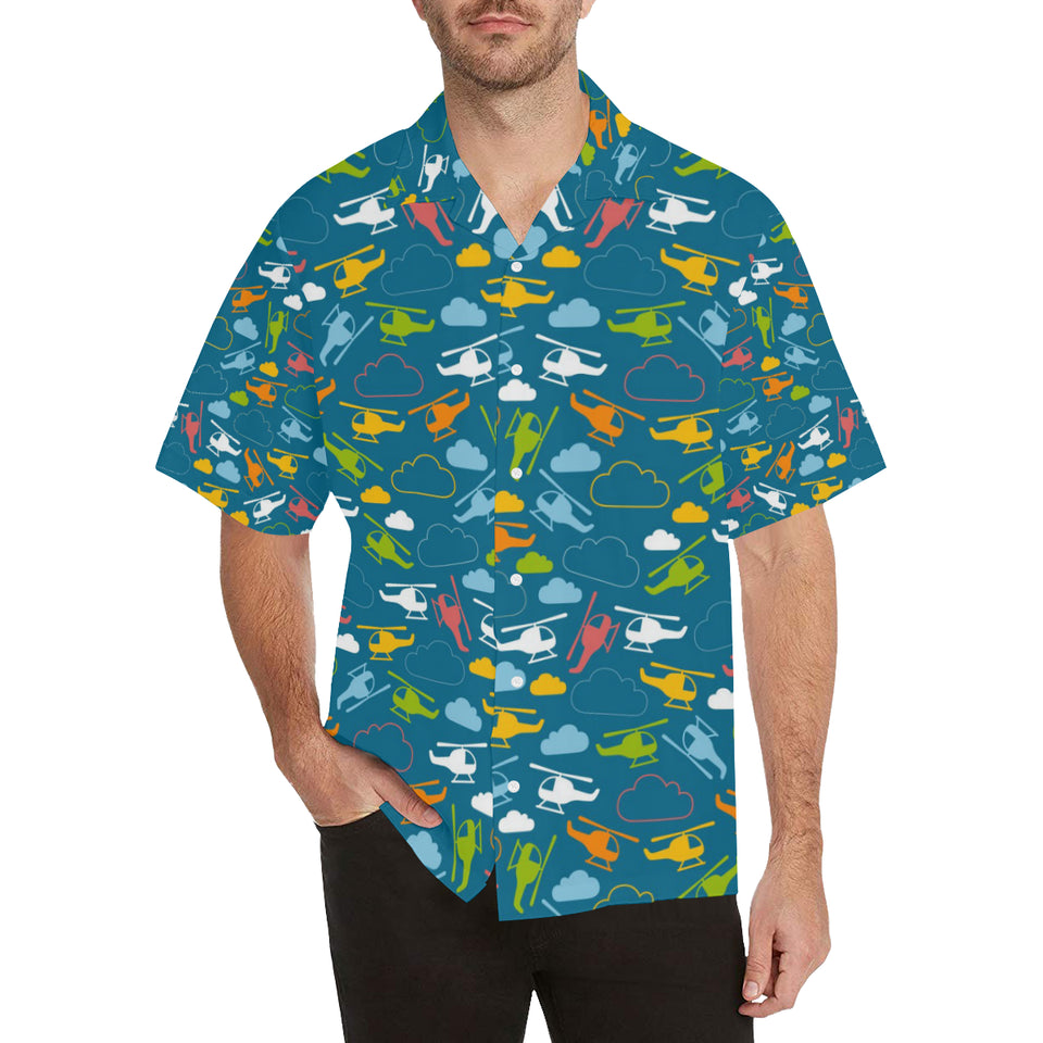 Color Helicopter Pattern Men's All Over Print Hawaiian Shirt