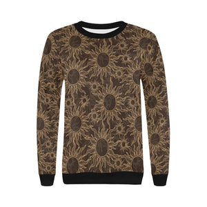 Sun Pattern Theme Women's Crew Neck Sweatshirt