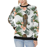 Bengal Tiger Hibicus Pattern Women's Crew Neck Sweatshirt