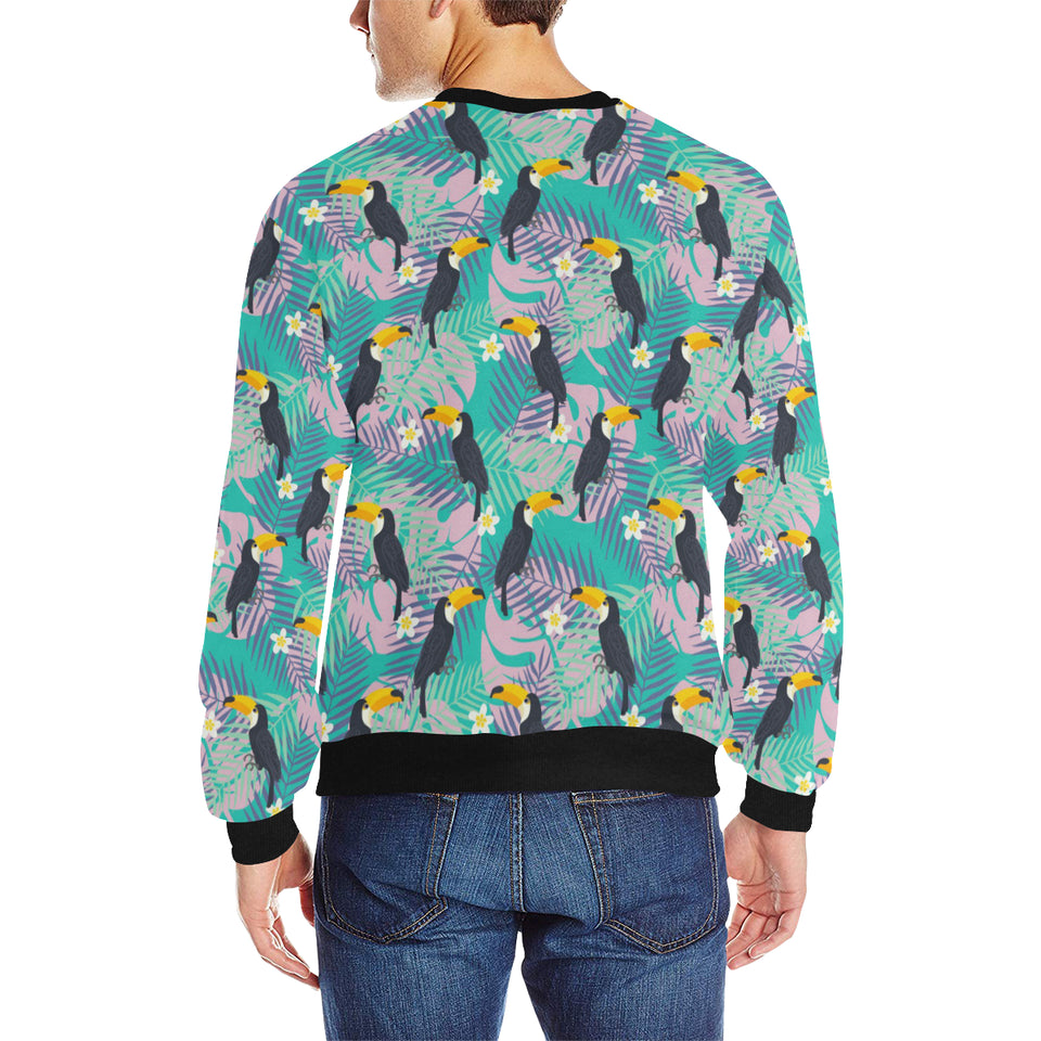 Toucan Pattern Background Men's Crew Neck Sweatshirt