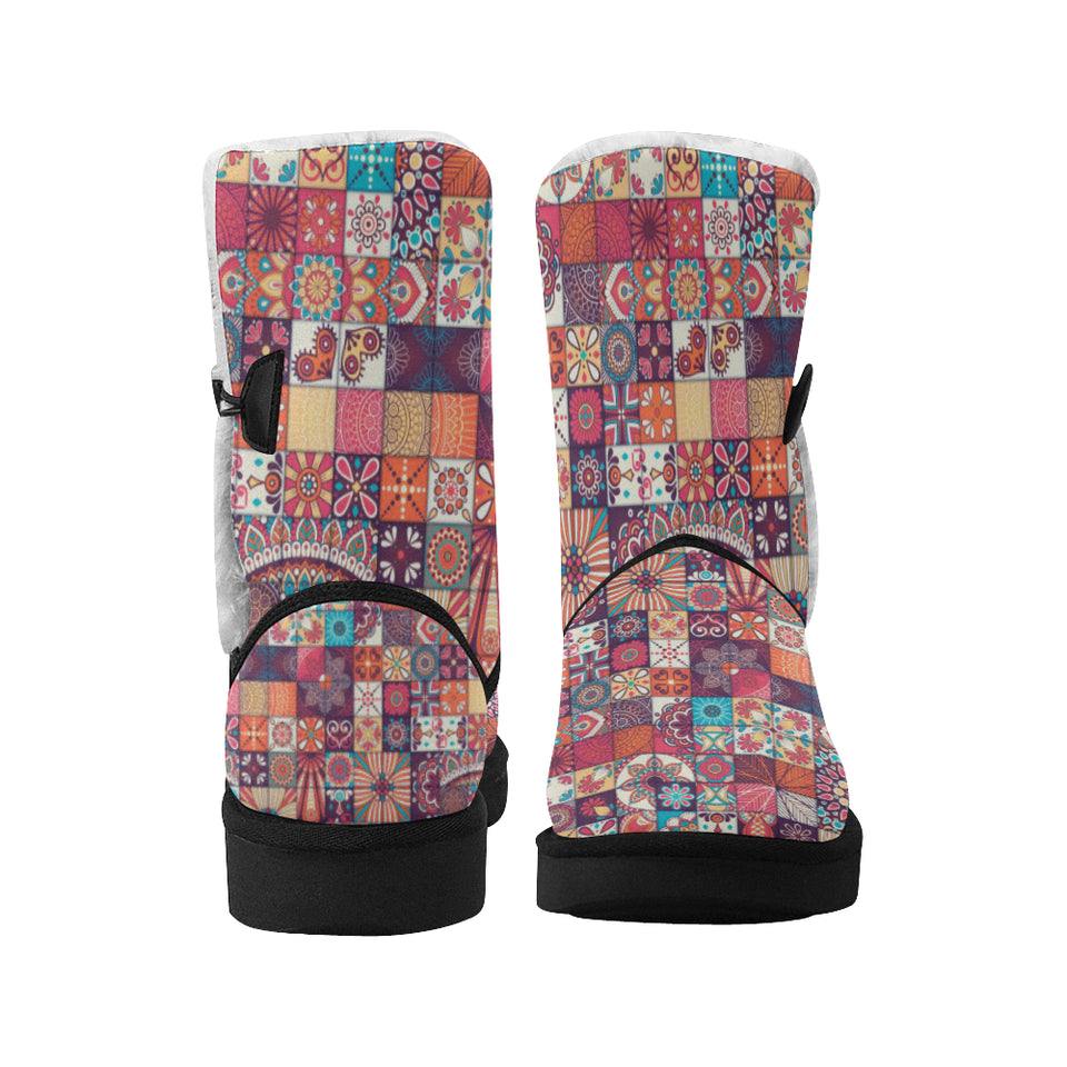 Vintage Decorative Elements Arabic Morocco Pattern Mid Calf Snow Boots