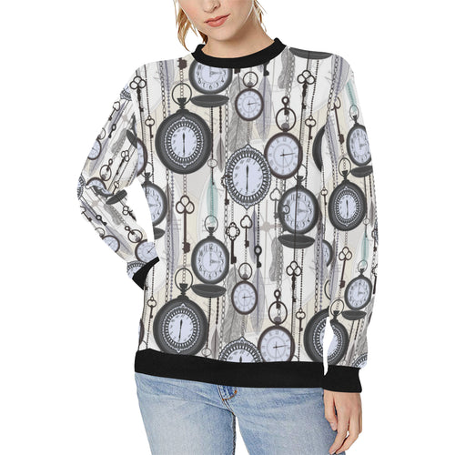 Vintage Clock Pattern Women's Crew Neck Sweatshirt