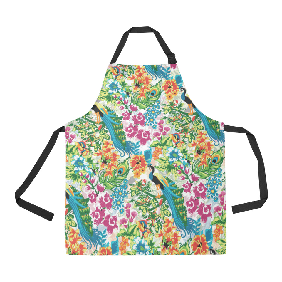 Colorful Peacock Pattern Adjustable Apron
