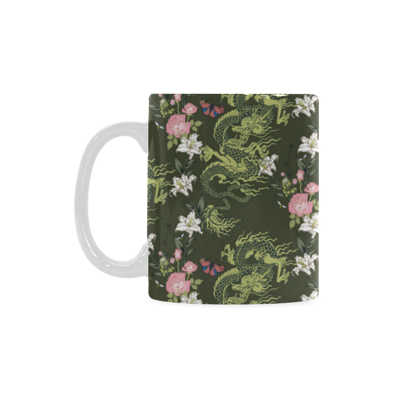 Green Dragon Rose Flower Pattern Classical White Mug (FulFilled In US)