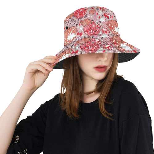 Red Pink Hot Air Balloon Pattern Unisex Bucket Hat