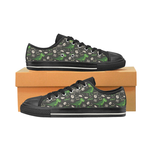 Dinosaur Pattern Men's Low Top Canvas Shoes Black