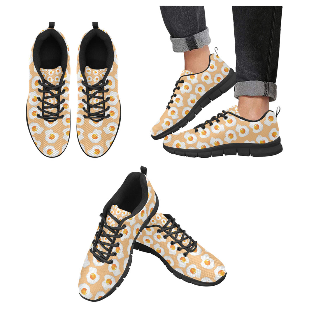 Fried Eggs Pattern Print Design 01 Men's Sneakers Black