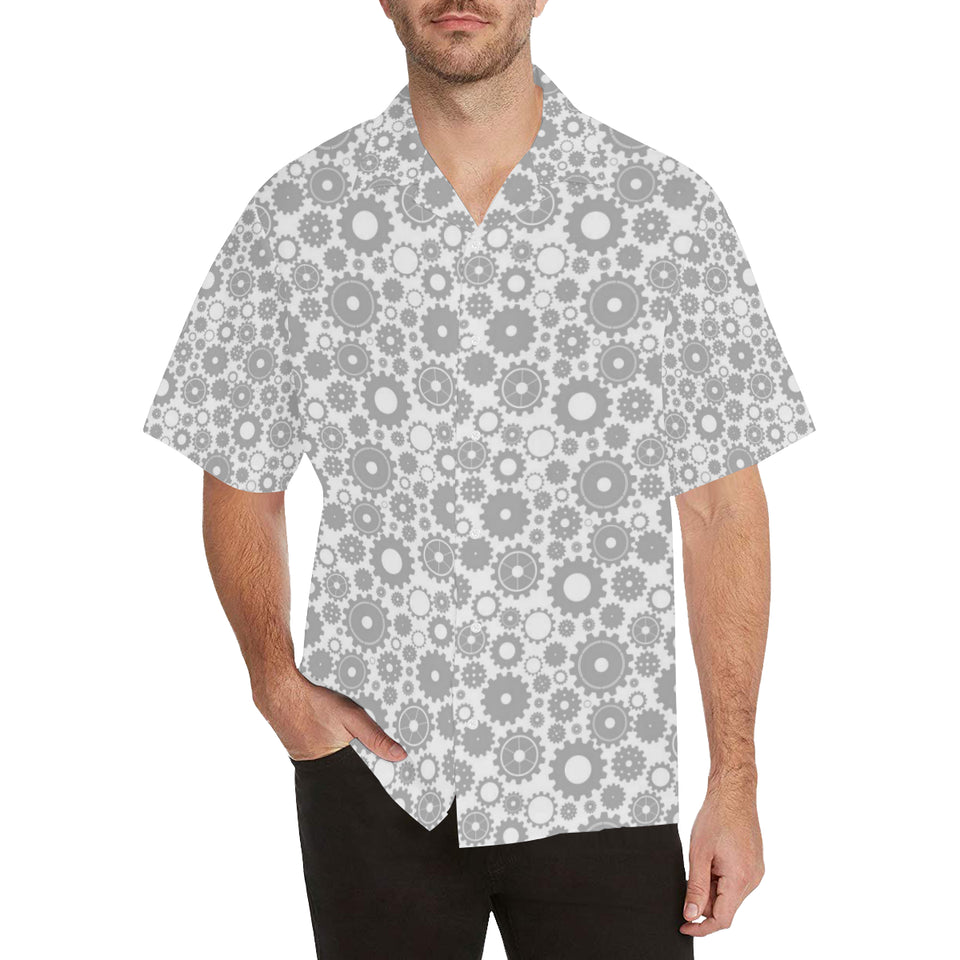 Gear Pattern Print Design 03 Men's All Over Print Hawaiian Shirt (Model T58)