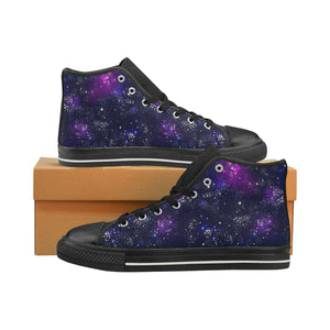 Space Galaxy Pattern Men's High Top Shoes Black