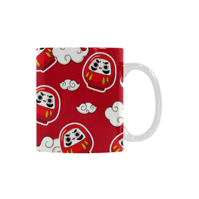 Red Daruma Cloud Pattern Classical White Mug (FulFilled In US)
