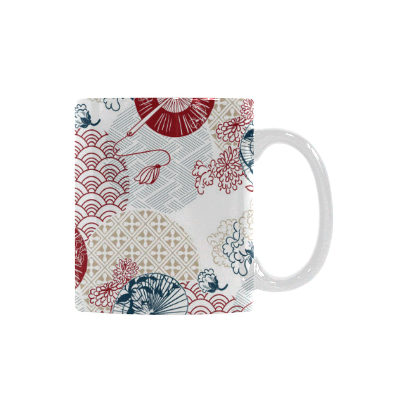 Japanese Fan Pattern Classical White Mug (FulFilled In US)