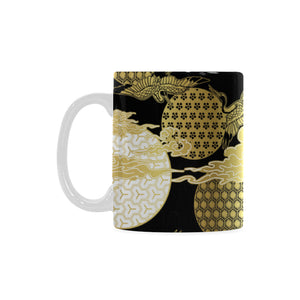 Gold Could Crane Japanese Pattern Classical White Mug (FulFilled In US)