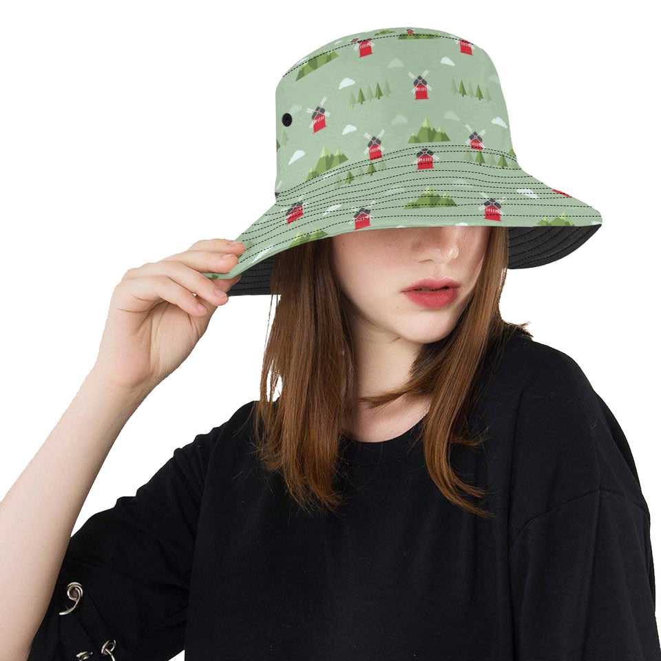 Windmill Green Pattern Unisex Bucket Hat