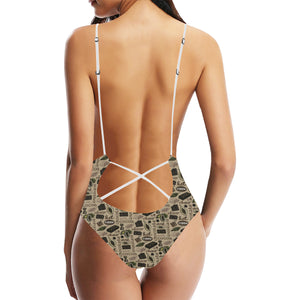 Cocoa Chocolate Pattern Women's One-Piece Swimsuit