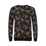 Japanese Crane Pattern Background Women's Crew Neck Sweatshirt