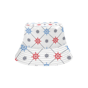 Nautical Steering Wheel Rudder Pattern Unisex Bucket Hat