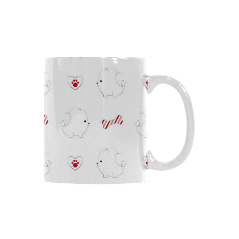 White Pomeranian Pattern Classical White Mug (FulFilled In US)