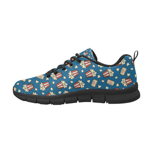 Popcorn Pattern Print Design 03 Men's Sneakers Black