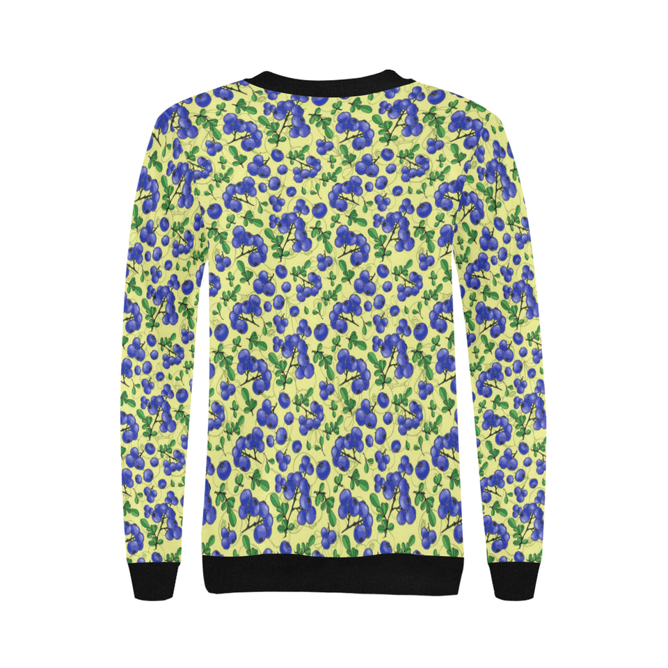 Blueberry Leaves Pattern Women's Crew Neck Sweatshirt