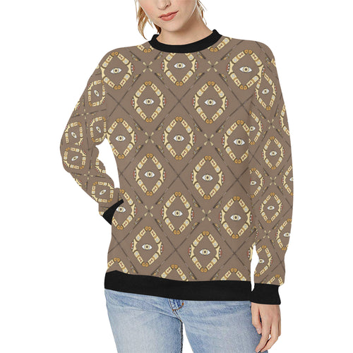 Traditional Boomerang Aboriginal Pattern Women's Crew Neck Sweatshirt