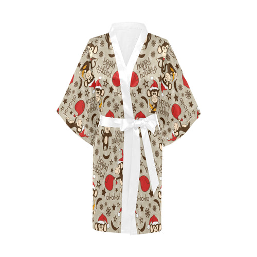 Monkey Christmas Pattern Women's Short Kimono Robe