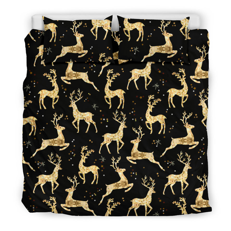 Gold Deer Pattern Bedding Set