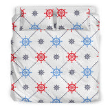 Nautical Steering Wheel Rudder Pattern Bedding Set