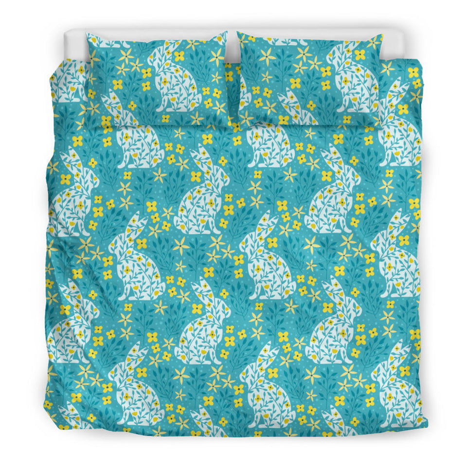 Rabbit Flower Theme Pattern Bedding Set