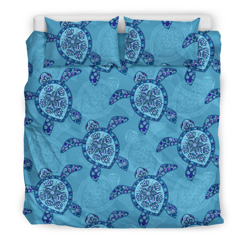 Sea Turtle Blue Tribal Pattern Bedding Set