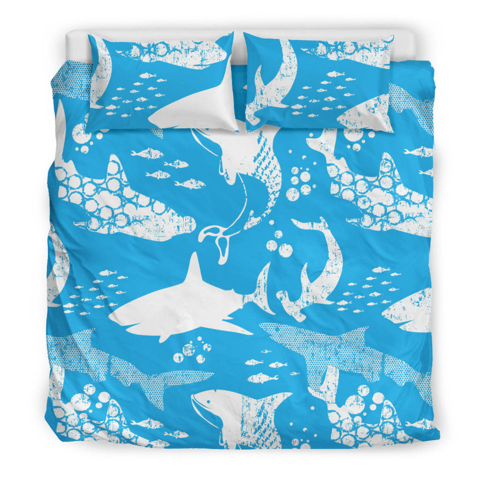 Shark Pattern Blue Theme Bedding Set