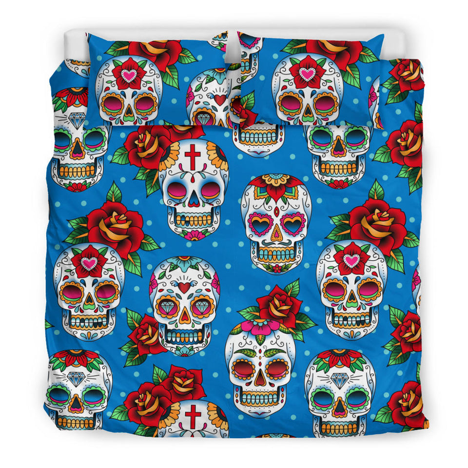 Suger Skull Rose Pattern Bedding Set