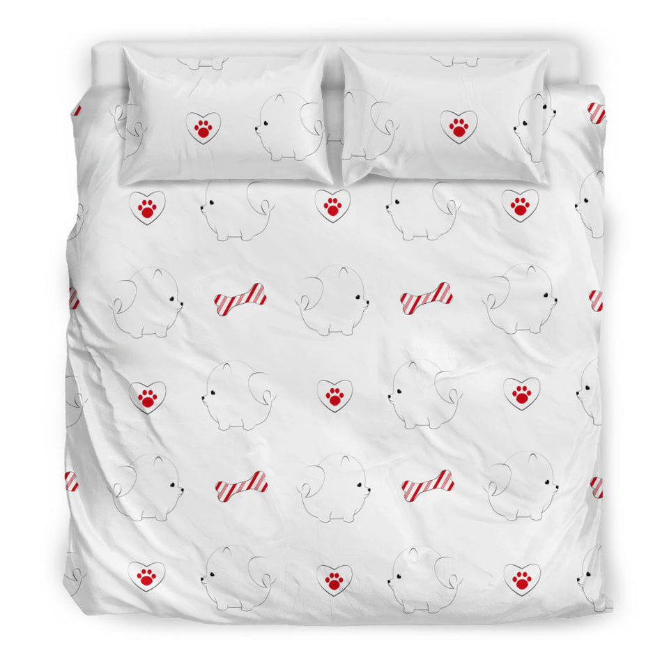 White Pomeranian Pattern Bedding Set