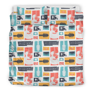 Guitar Pattern Background Bedding Set