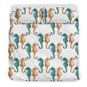 Seahorse Pattern Background Bedding Set