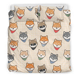 Shiba Inu Head Pattern Bedding Set