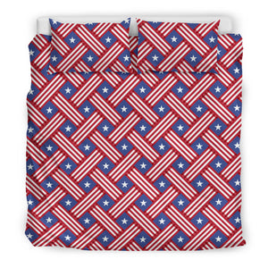 USA Star Stripe Pattern Bedding Set