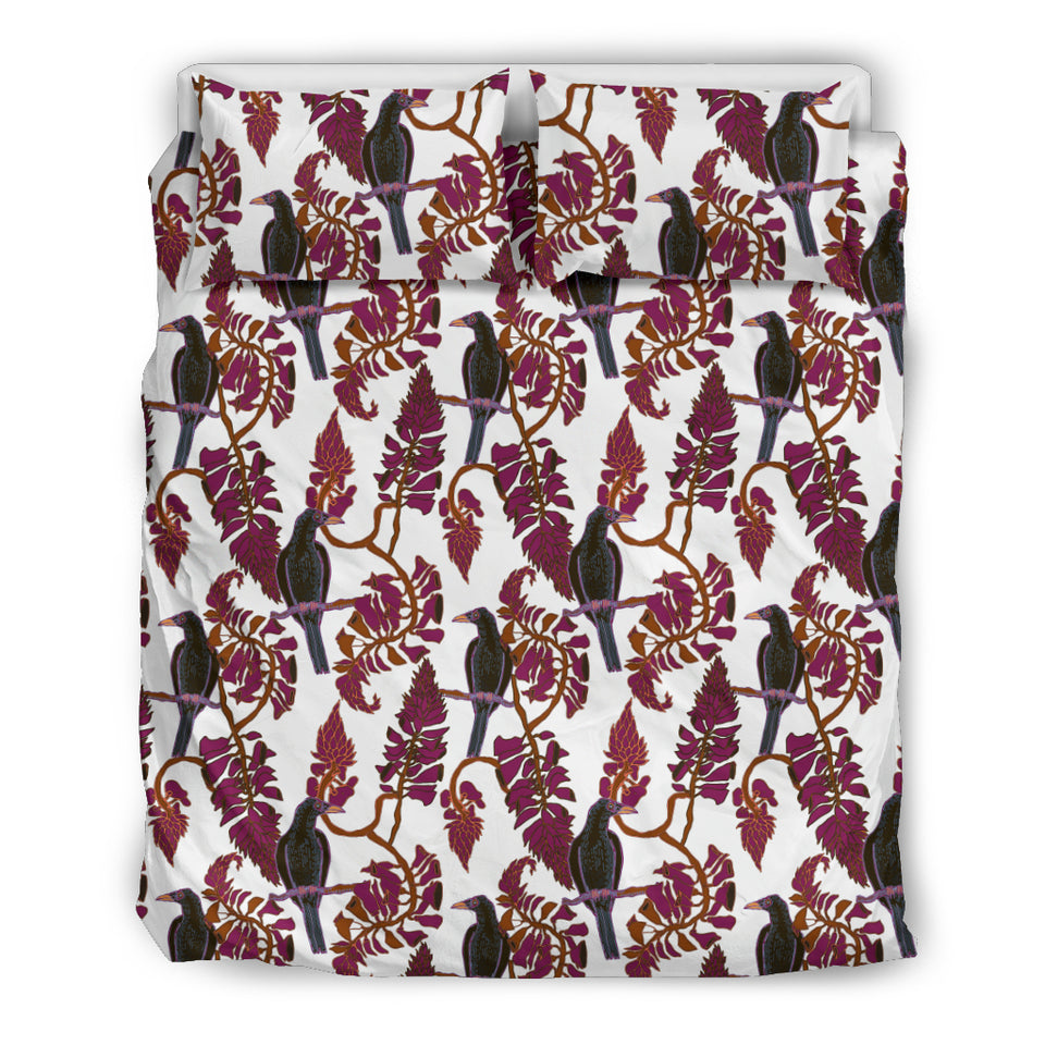 Crow Tree Leaves Pattern Bedding Set