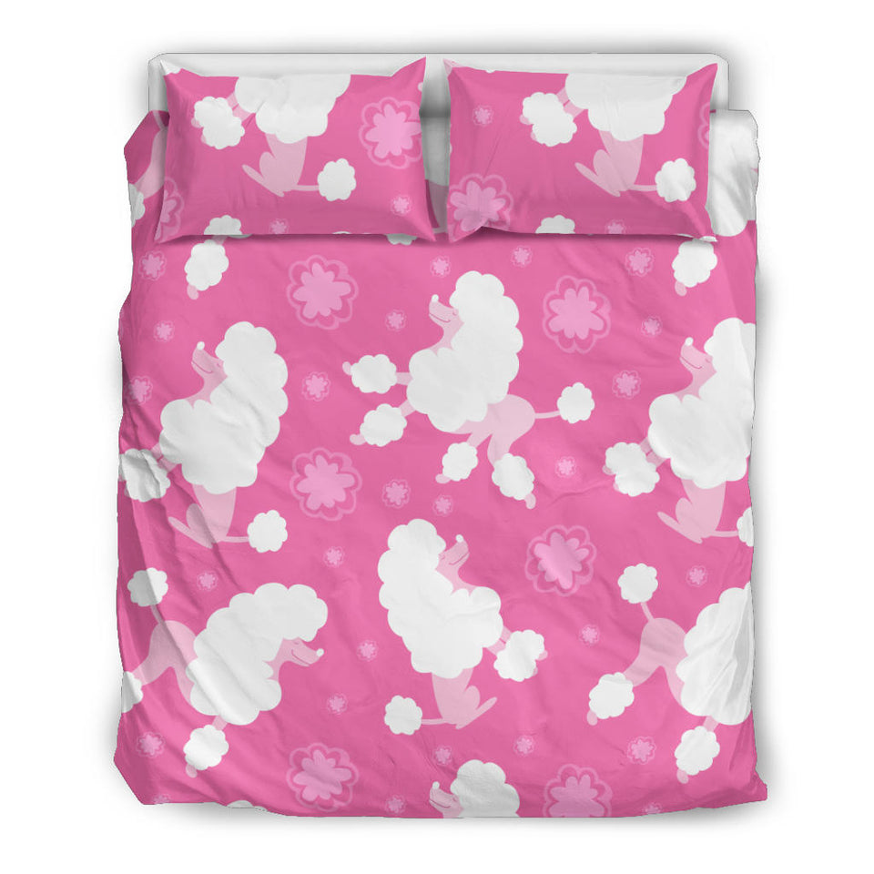 Poodle Pink Theme Pattern Bedding Set