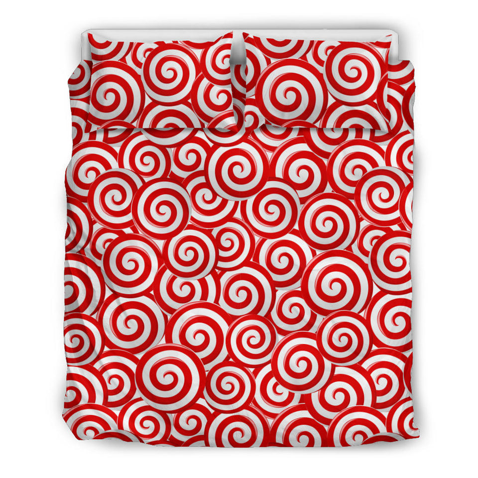 Red and White Candy Spiral Lollipops Pattern Bedding Set
