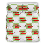 Red Chili Pattern Green White background Bedding Set